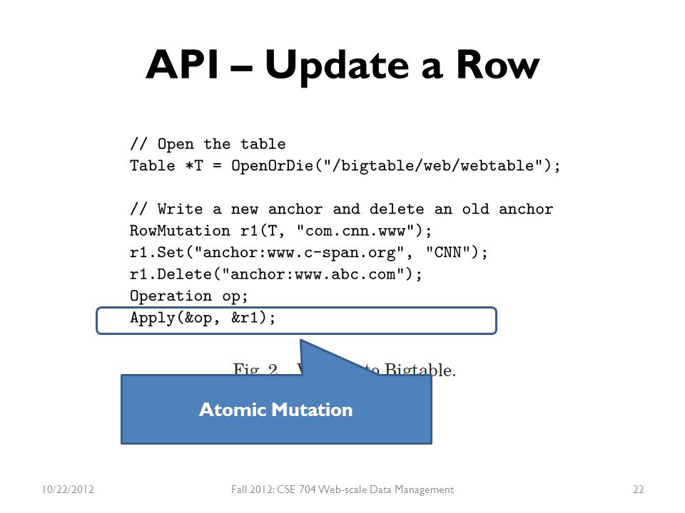 API – Update a Row Atomic Mutation 10/22/2012Fall 2012: CSE 704 Web-scale Data Management22
