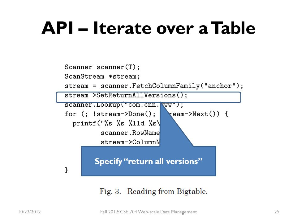 "API – Iterate over a Table 10/22/2012Fall 2012: CSE 704 Web-scale Data Management25 Specify ""return all versions"""