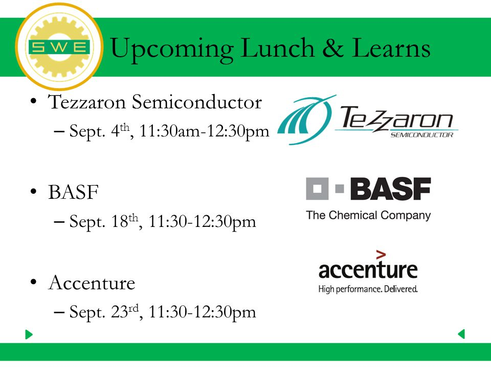 Upcoming Lunch & Learns Tezzaron Semiconductor – Sept.
