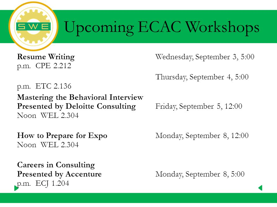 Upcoming ECAC Workshops Resume WritingWednesday, September 3, 5:00 p.m.