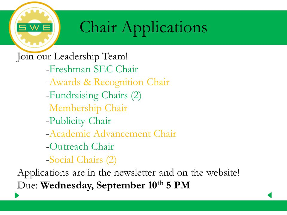 Chair Applications Join our Leadership Team.