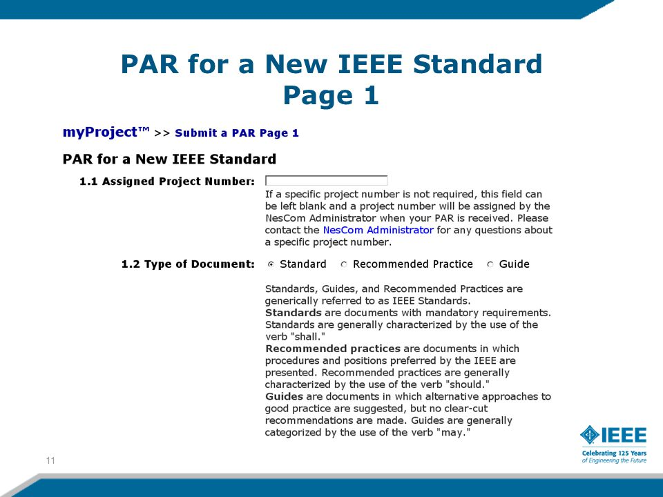 PAR for a New IEEE Standard Page 1 11