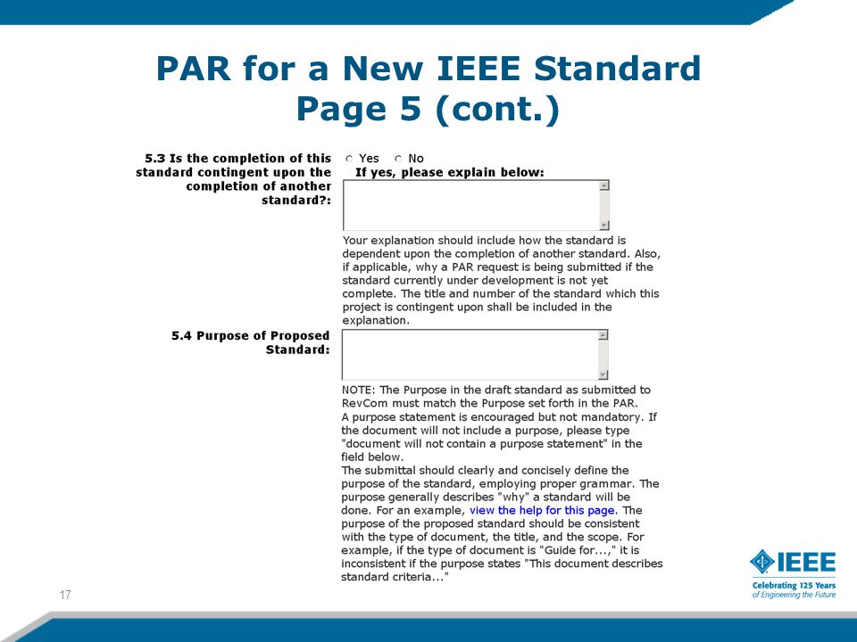 PAR for a New IEEE Standard Page 5 (cont.) 17
