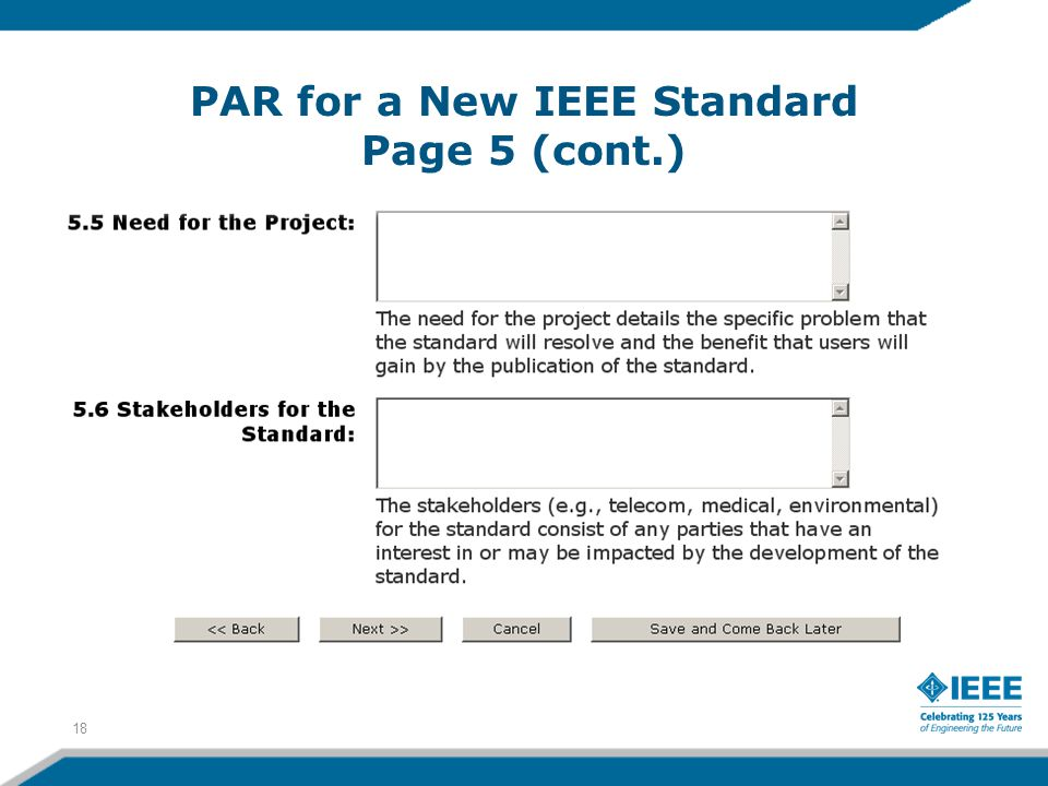 PAR for a New IEEE Standard Page 5 (cont.) 18