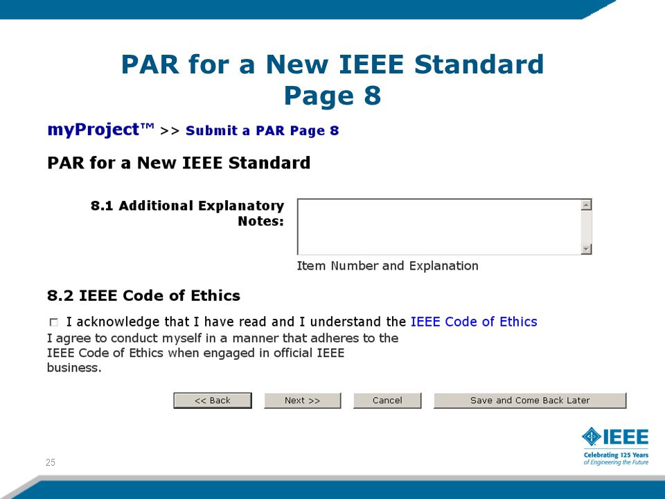 PAR for a New IEEE Standard Page 8 25