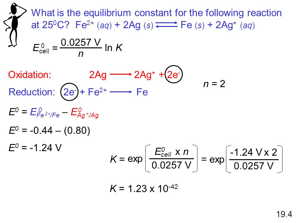 2e - + Fe 2+ Fe 2Ag 2Ag + + 2e - Oxidation: Reduction: What is the equilibrium constant for the following reaction at 25 0 C? Fe 2+ (aq) + 2Ag (s) Fe
