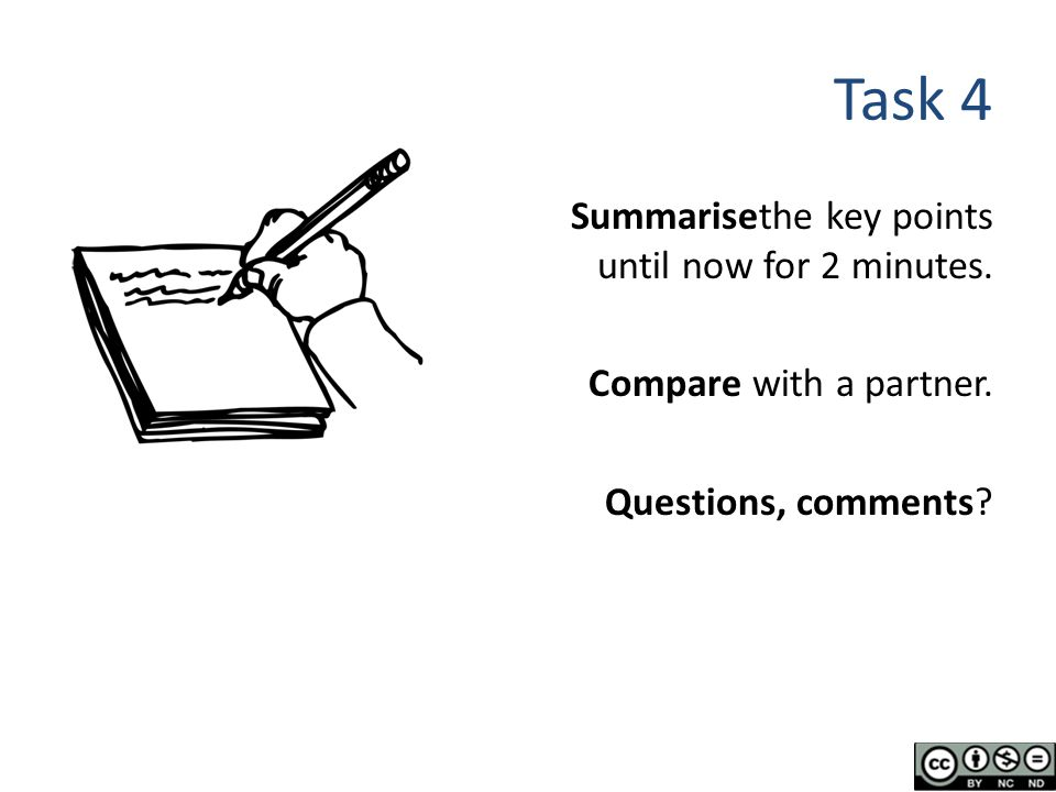 Task 4 Summarisethe key points until now for 2 minutes.