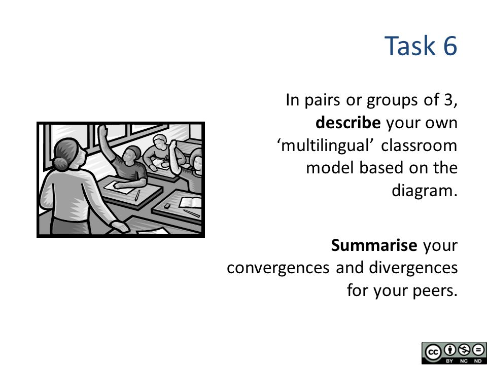Task 6 In pairs or groups of 3, describe your own 'multilingual' classroom model based on the diagram.