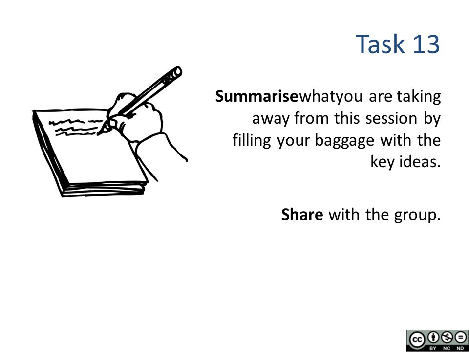 Task 13 Summarisewhatyou are taking away from this session by filling your baggage with the key ideas.