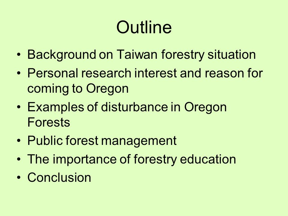 History of Forestry in Taiwan Period Forestry Priorities 1890s - 1945 Japanese occupation; heavy logging and a lot of planting of camphor and tea 1946 - 1990 Strong economic growth; strong timber industry; over cutting, mainly native species like cypress, hemlock, cedar Social Economy Environment