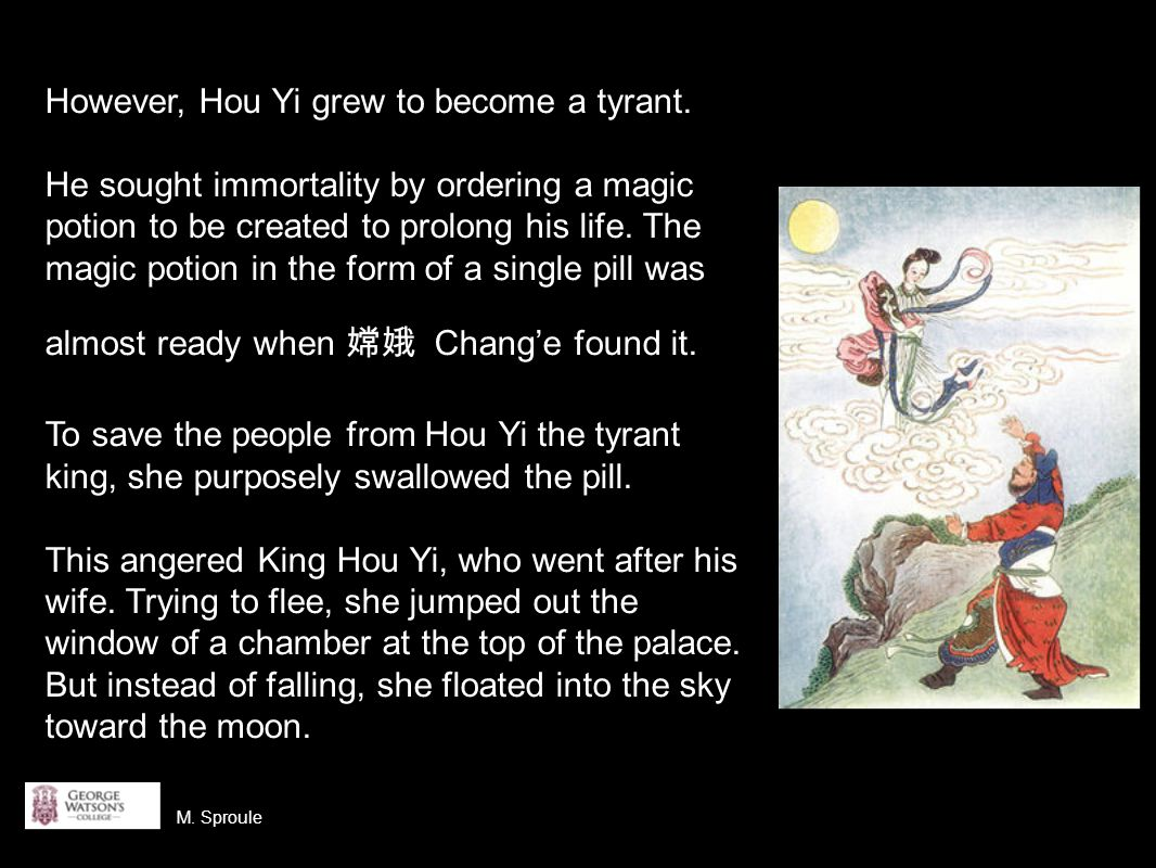 Meanwhile, King Hou Yi ascended to the sun and built a palace.