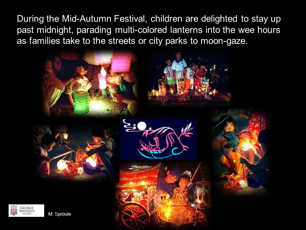 During the Mid-Autumn Festival, children are delighted to stay up past midnight, parading multi-colored lanterns into the wee hours as families take to the streets or city parks to moon-gaze.