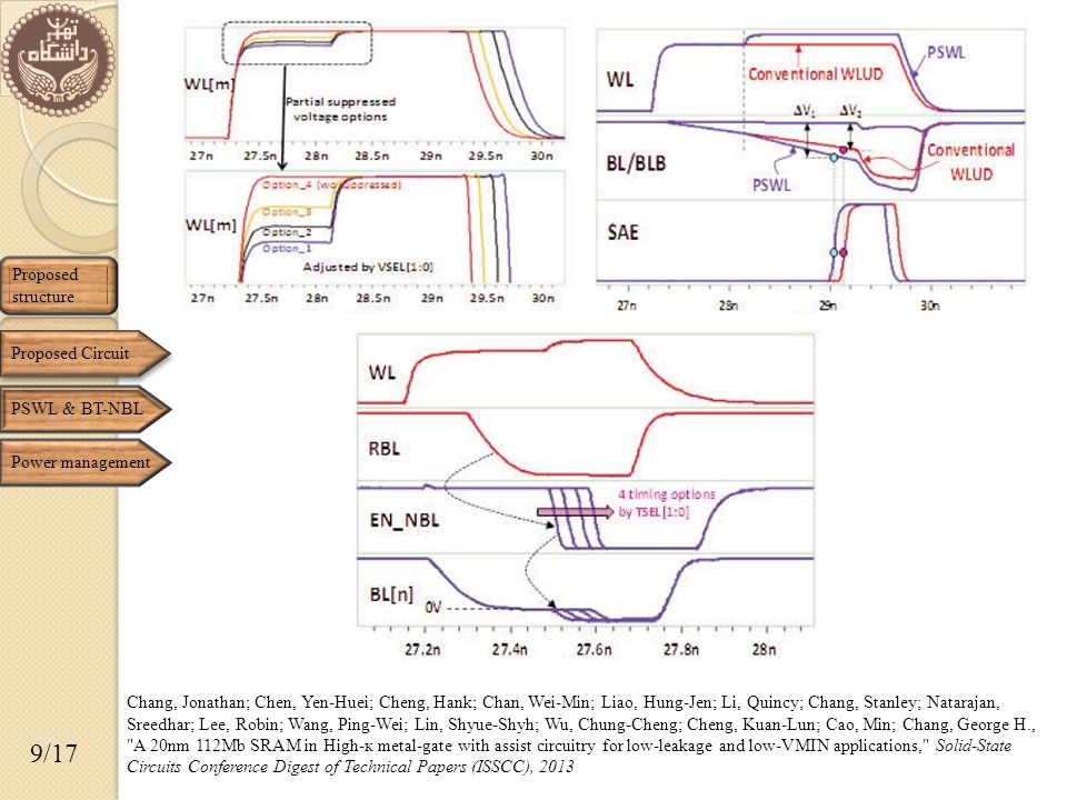 Proposed structure 9/17 Proposed Circuit Chang, Jonathan; Chen, Yen-Huei; Cheng, Hank; Chan, Wei-Min; Liao, Hung-Jen; Li, Quincy; Chang, Stanley; Natarajan, Sreedhar; Lee, Robin; Wang, Ping-Wei; Lin, Shyue-Shyh; Wu, Chung-Cheng; Cheng, Kuan-Lun; Cao, Min; Chang, George H., A 20nm 112Mb SRAM in High-к metal-gate with assist circuitry for low-leakage and low-VMIN applications, Solid-State Circuits Conference Digest of Technical Papers (ISSCC), 2013 PSWL & BT-NBL Power management