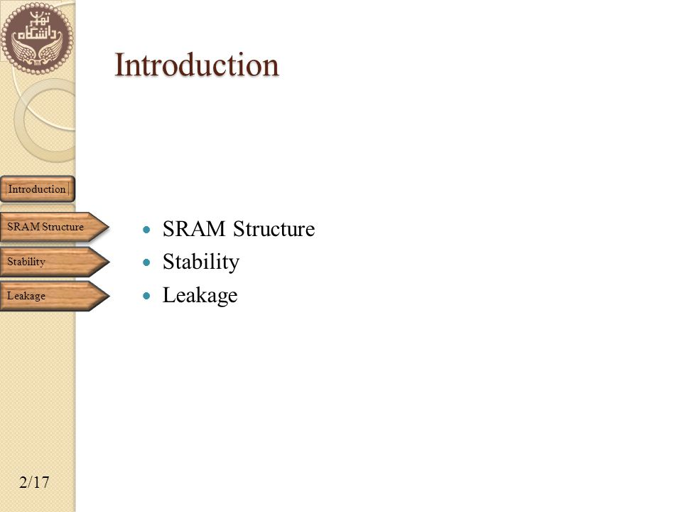SRAM Structure Stability Leakage Introduction Introduction SRAM Structure Stability Leakage 2/17