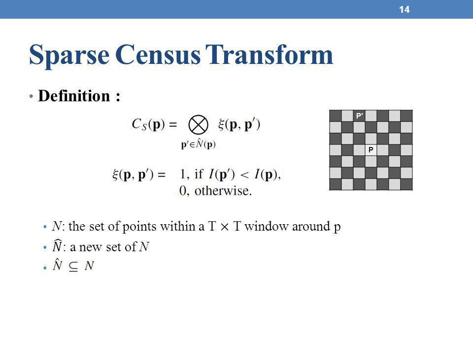 Sparse Census Transform 14 P' P