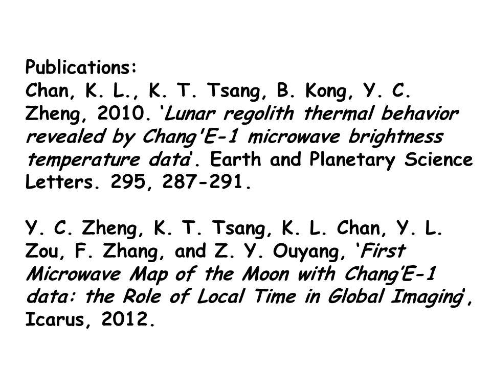 Publications: Chan, K. L., K. T. Tsang, B. Kong, Y.