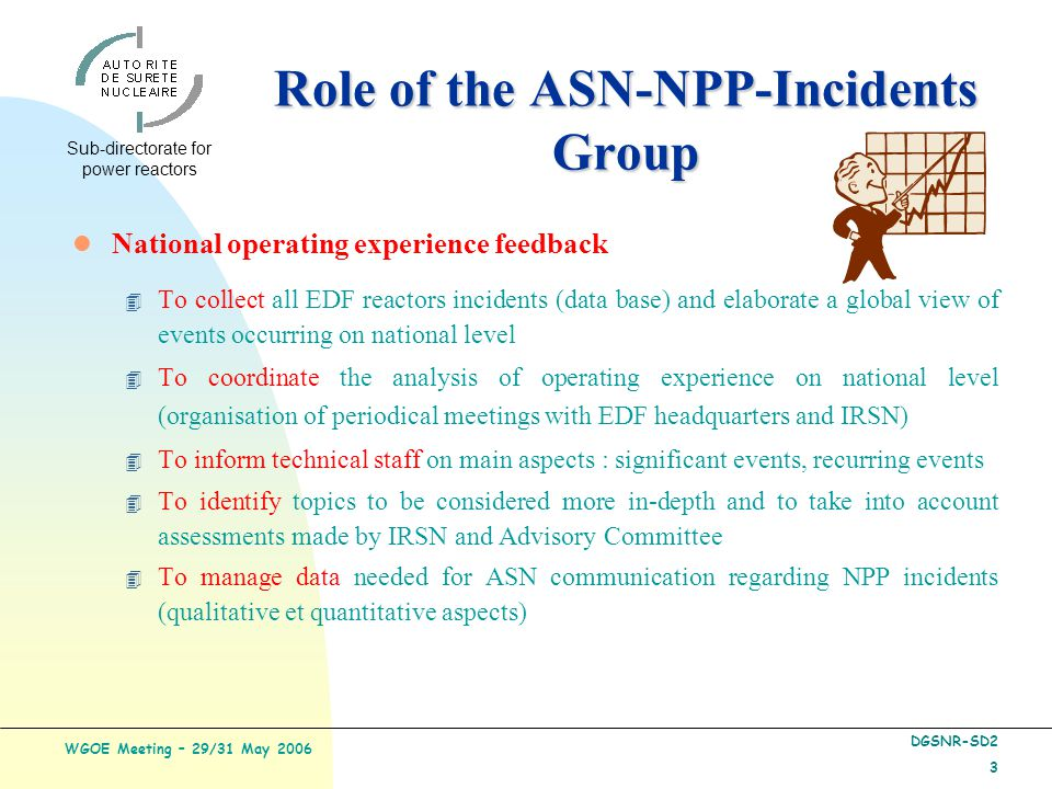 Sub-directorate for power reactors WGOE Meeting – 29/31 May 2006 DGSNR-SD2 3 l National operating experience feedback 4 To collect all EDF reactors incidents (data base) and elaborate a global view of events occurring on national level 4 To coordinate the analysis of operating experience on national level (organisation of periodical meetings with EDF headquarters and IRSN) 4 To inform technical staff on main aspects : significant events, recurring events 4 To identify topics to be considered more in-depth and to take into account assessments made by IRSN and Advisory Committee 4 To manage data needed for ASN communication regarding NPP incidents (qualitative et quantitative aspects) Role of the ASN-NPP-Incidents Group