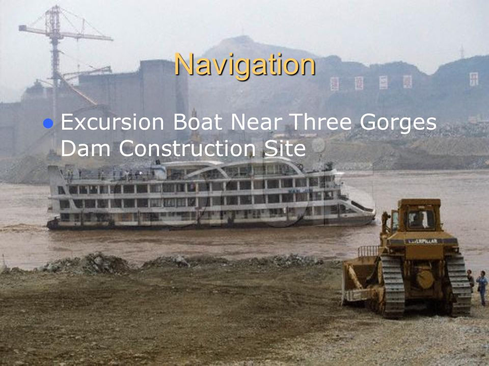 Navigation Excursion Boat Near Three Gorges Dam Construction Site