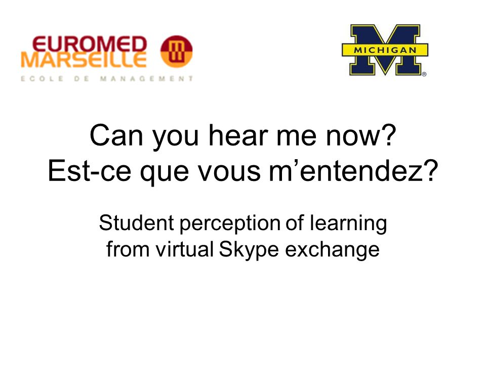 Can you hear me now? Est-ce que vous m'entendez? Student perception of learning from virtual Skype exchange