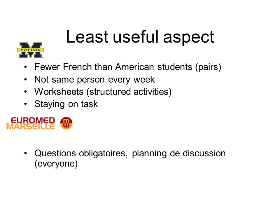 Least useful aspect Fewer French than American students (pairs) Not same person every week Worksheets (structured activities) Staying on task Question