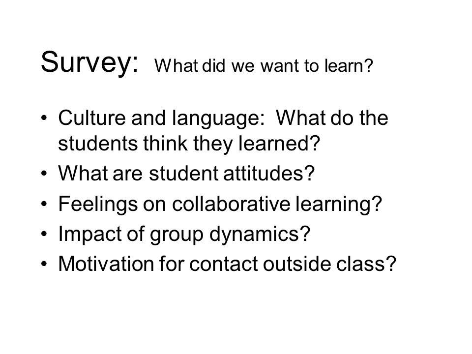 Survey: What did we want to learn? Culture and language: What do the students think they learned? What are student attitudes? Feelings on collaborativ