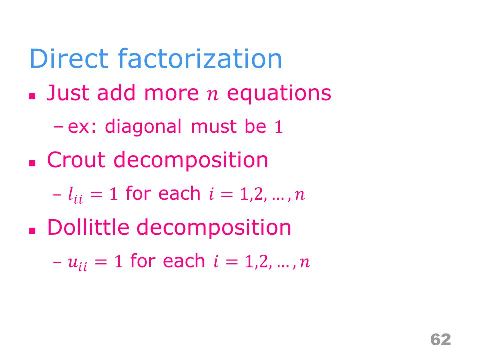 Direct factorization 62