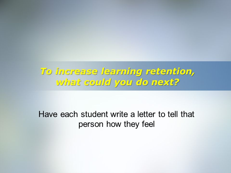 Home Objective Qualifications Education Employment Skills To increase learning retention, what could you do next? Have each student write a letter to