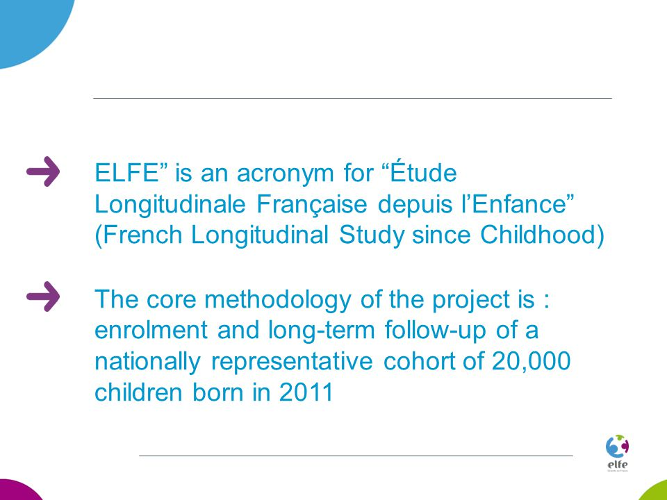 ELFE is an acronym for Étude Longitudinale Française depuis l'Enfance (French Longitudinal Study since Childhood) The core methodology of the project is : enrolment and long-term follow-up of a nationally representative cohort of 20,000 children born in 2011