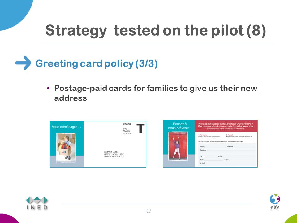Strategy tested on the pilot (8) Greeting card policy (3/3) Postage-paid cards for families to give us their new address 42