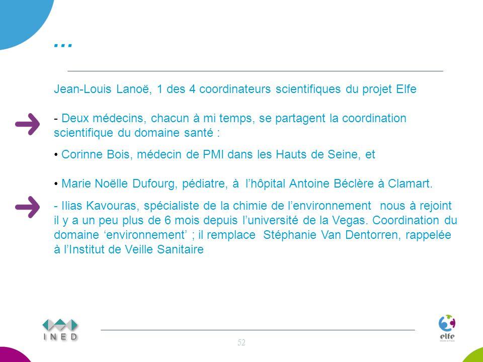 … 52 Jean-Louis Lanoë, 1 des 4 coordinateurs scientifiques du projet Elfe - Deux médecins, chacun à mi temps, se partagent la coordination scientifique du domaine santé : Corinne Bois, médecin de PMI dans les Hauts de Seine, et Marie Noëlle Dufourg, pédiatre, à l'hôpital Antoine Béclère à Clamart.