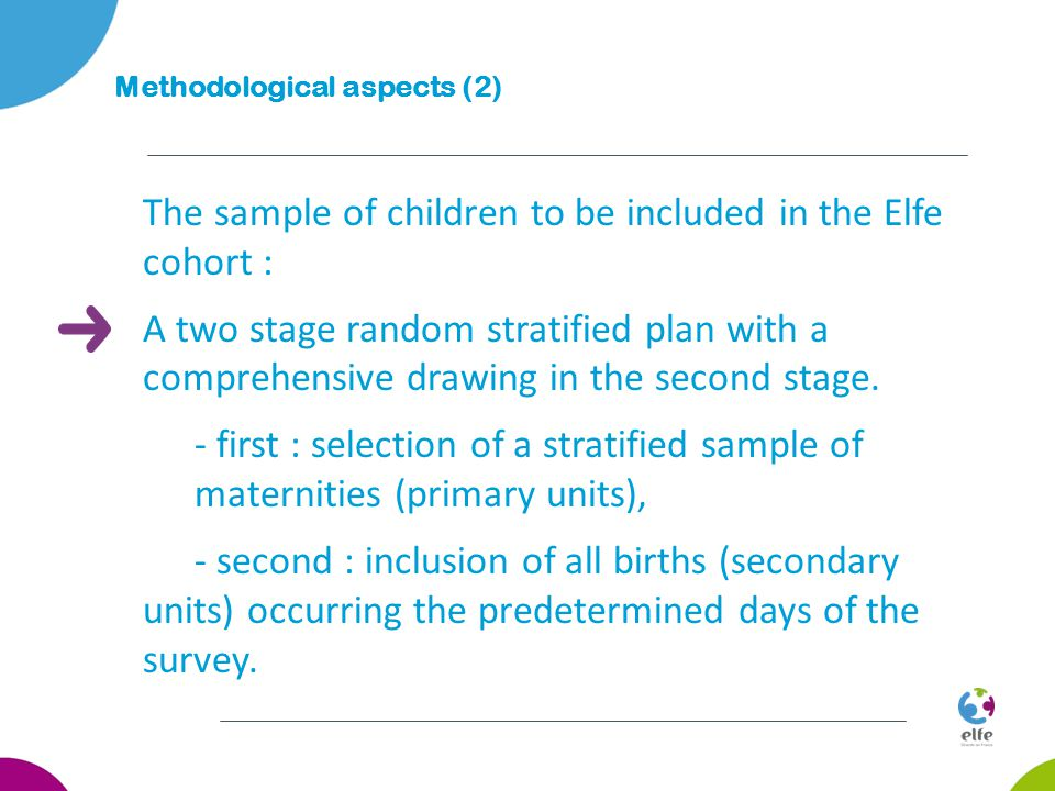 The sample of children to be included in the Elfe cohort : A two stage random stratified plan with a comprehensive drawing in the second stage.