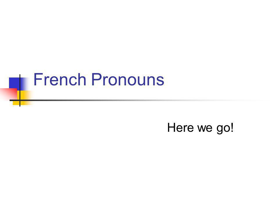 French Pronouns Here we go!