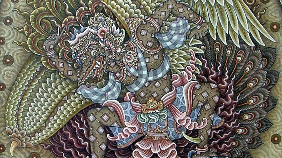 I Gusti Ketut Kobot 1917-1999) Brahma Riding on Wilmana