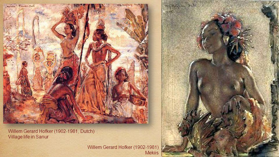 W.G. Hofker (1902-1981) Ni Kenjoen, Bali, 1945 Oil conte and crayon W.G. Hofker (1902-1981) Dressing for legong dance