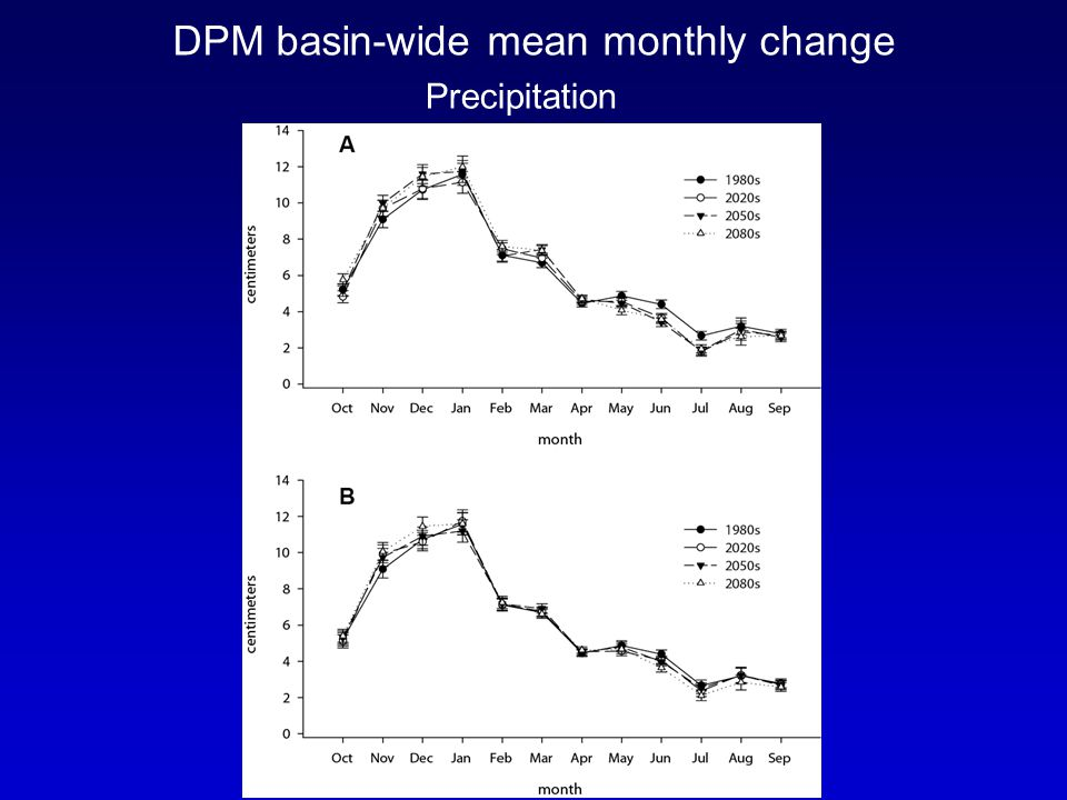 DPM basin-wide mean monthly change Precipitation
