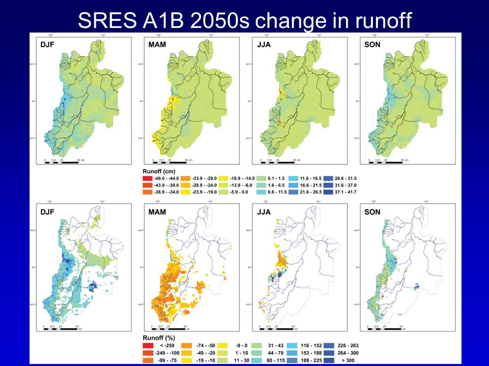 SRES A1B 2050s change in runoff