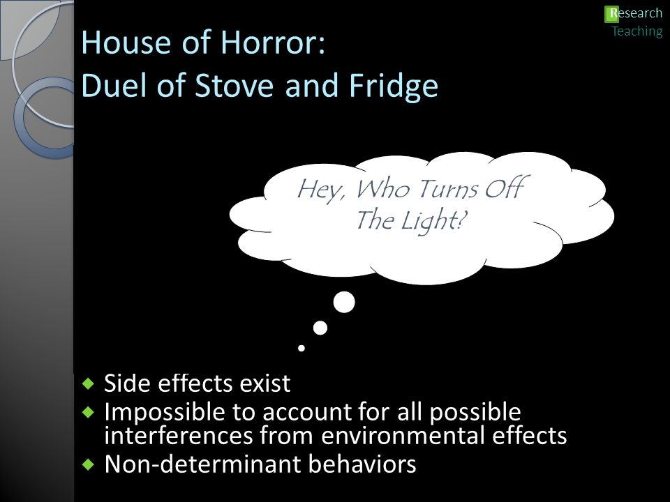 House of Horror: Duel of Stove and Fridge  Side effects exist  Impossible to account for all possible interferences from environmental effects  Non-determinant behaviors Hey, Who Turns Off The Light.