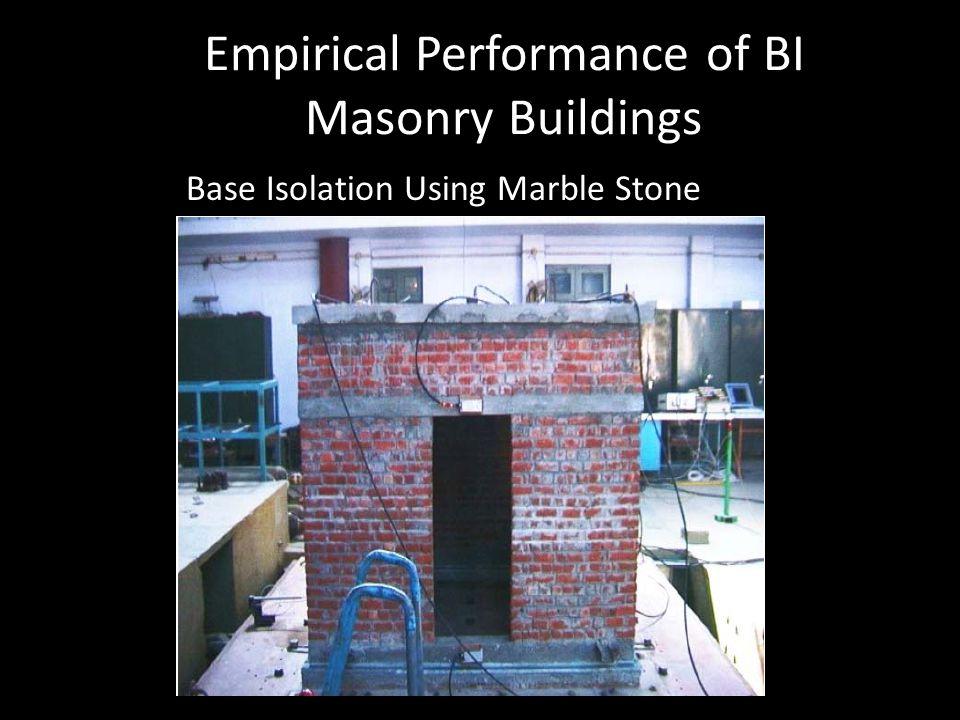 Empirical Performance of BI Masonry Buildings Base Isolation Using Marble Stone