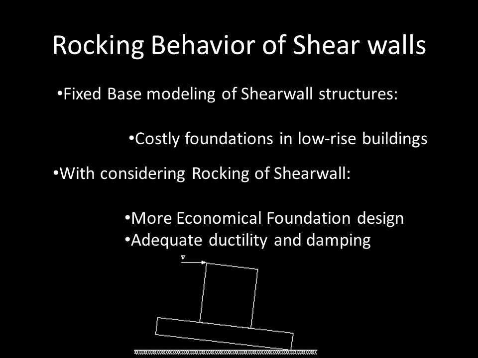 Rocking Behavior of Shear walls Fixed Base modeling of Shearwall structures: Costly foundations in low-rise buildings With considering Rocking of Shea