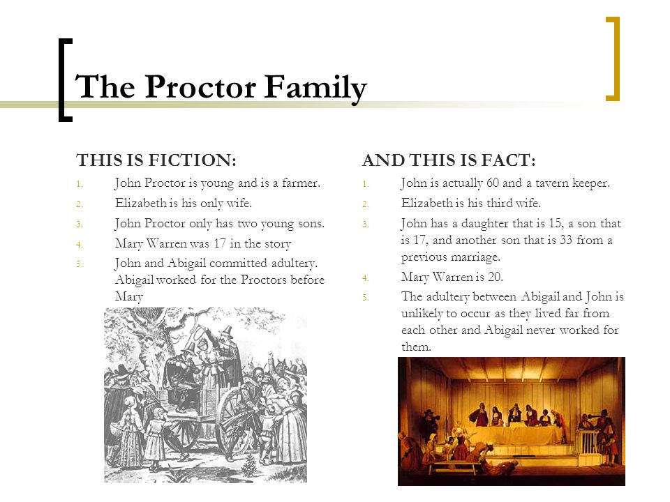 The Proctor Family THIS IS FICTION: 1. John Proctor is young and is a farmer. 2. Elizabeth is his only wife. 3. John Proctor only has two young sons.
