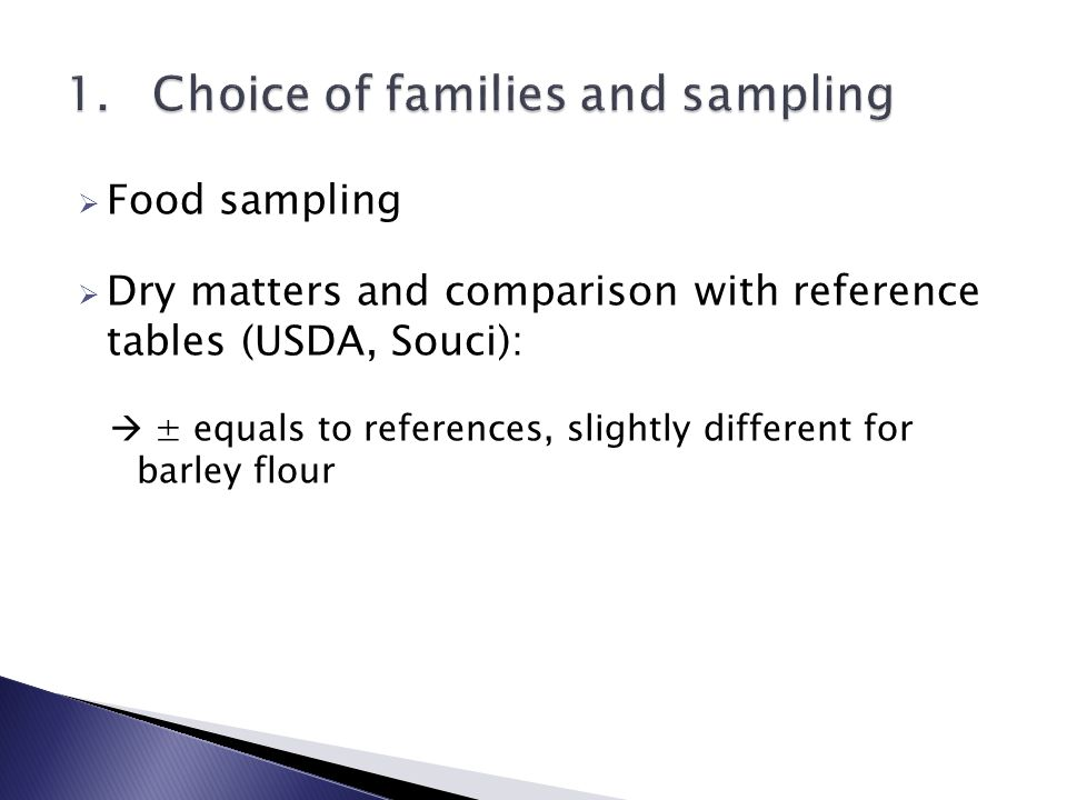  Food sampling  Dry matters and comparison with reference tables (USDA, Souci):  ± equals to references, slightly different for barley flour