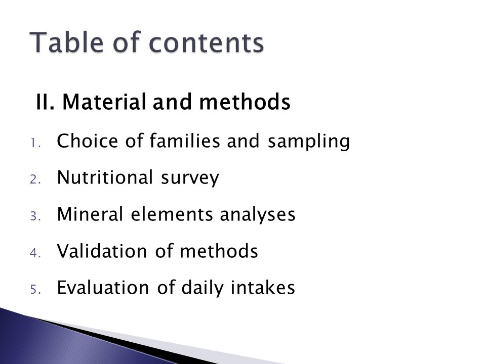 II. Material and methods 1. Choice of families and sampling 2.