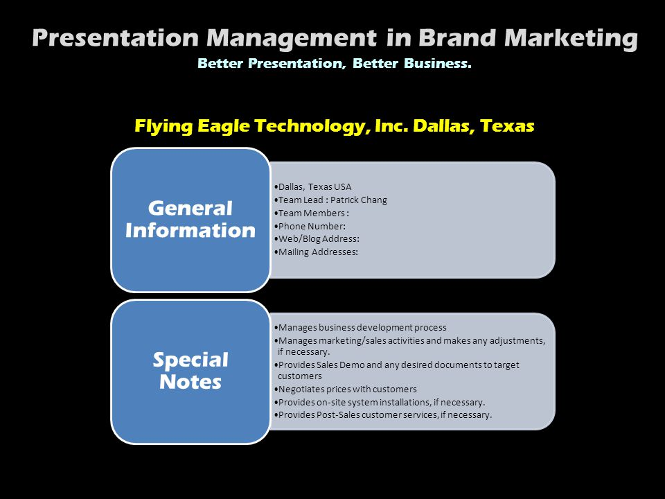 Dallas, Texas USA Team Lead : Patrick Chang Team Members : Phone Number: Web/Blog Address: Mailing Addresses: General Information Manages business development process Manages marketing/sales activities and makes any adjustments, if necessary.