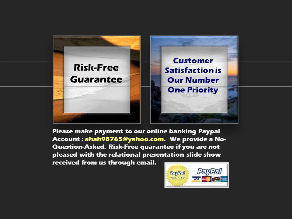 Risk-Free Guarantee Customer Satisfaction is Our Number One Priority Please make payment to our online banking Paypal Account : ahah98765@yahoo.com.