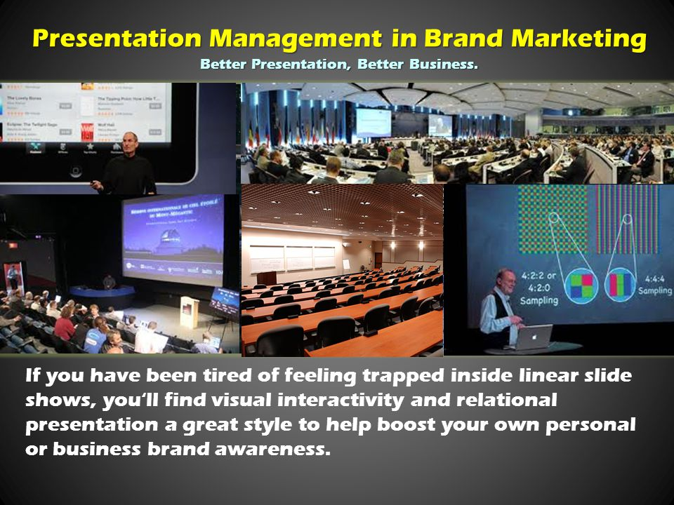 If you have been tired of feeling trapped inside linear slide shows, you'll find visual interactivity and relational presentation a great style to help boost your own personal or business brand awareness.