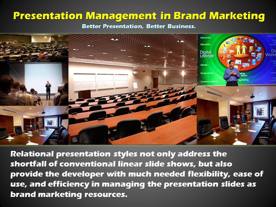 Relational presentation styles not only address the shortfall of conventional linear slide shows, but also provide the developer with much needed flexibility, ease of use, and efficiency in managing the presentation slides as brand marketing resources.