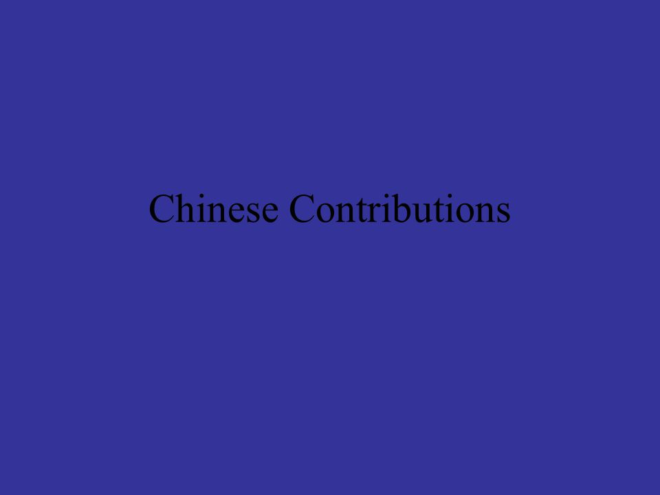 Chinese Contributions