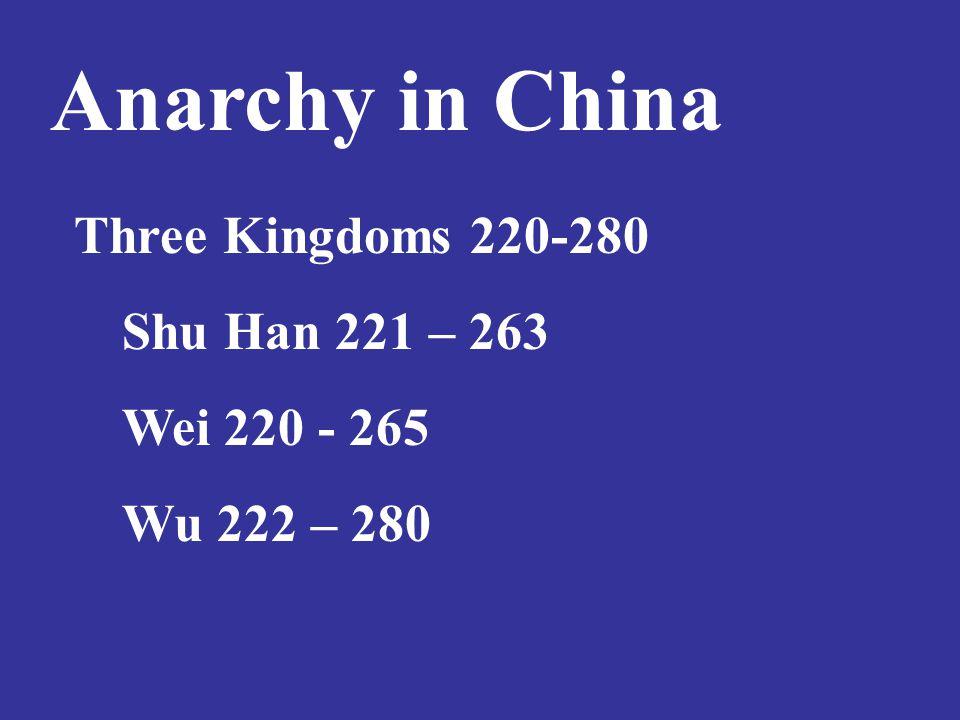 Anarchy in China Three Kingdoms 220-280 Shu Han 221 – 263 Wei 220 - 265 Wu 222 – 280