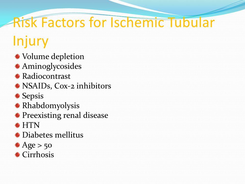 Risk Factors for Ischemic Tubular Injury Volume depletion Aminoglycosides Radiocontrast NSAIDs, Cox-2 inhibitors Sepsis Rhabdomyolysis Preexisting ren