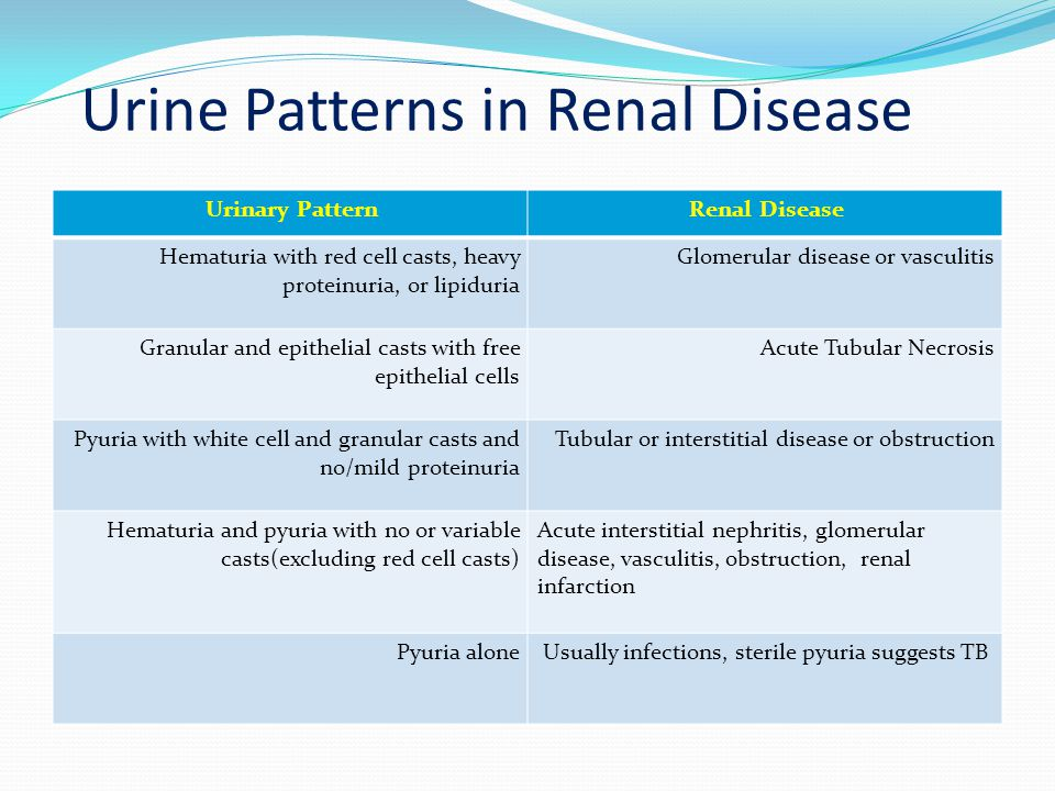 Urine Patterns in Renal Disease Urinary PatternRenal Disease Hematuria with red cell casts, heavy proteinuria, or lipiduria Glomerular disease or vasc